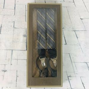 TRAFALGAR SUSPENDERS Black & Gold Stripe Silk NIB